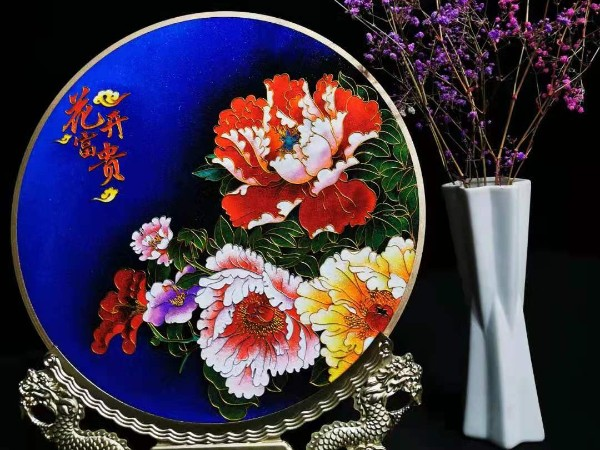 景泰蓝花开富贵艺术摆件