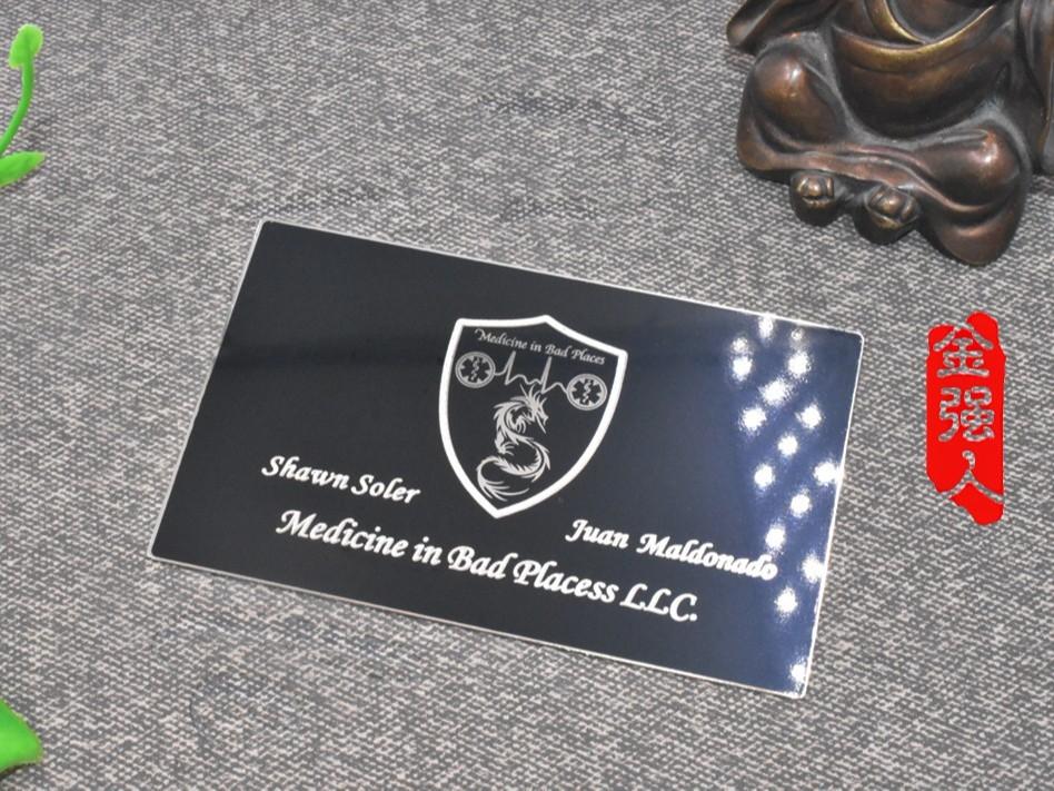 免费设计_定制_黑金亮膜镀银镜面金属名片卡样版