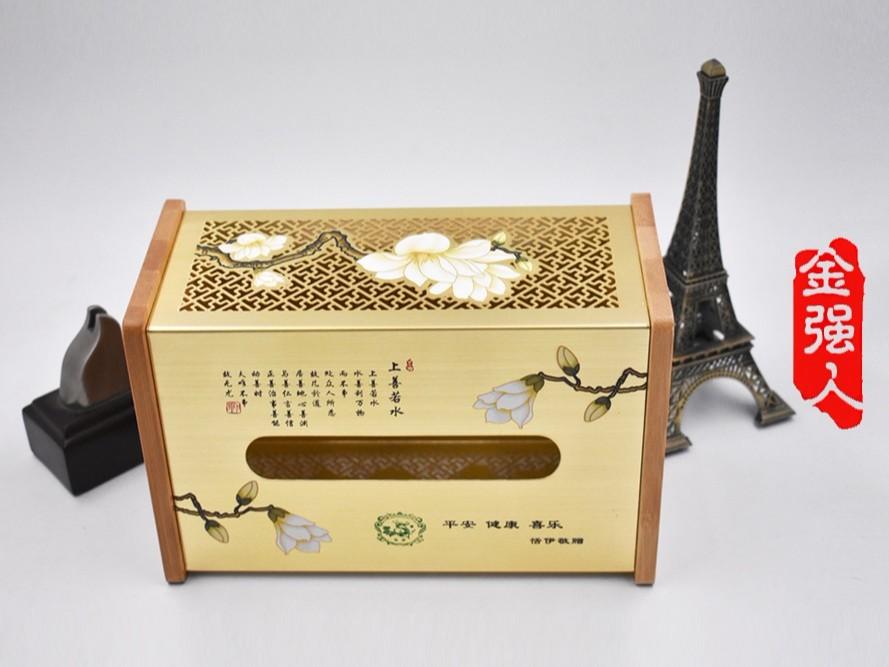 免费设计定制中国风拉丝镂空金属纸巾盒