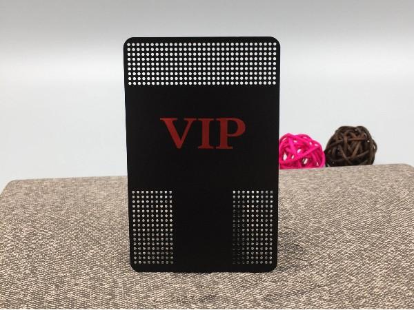 免费设计_定制_不锈钢电黑镂空VIP卡样版