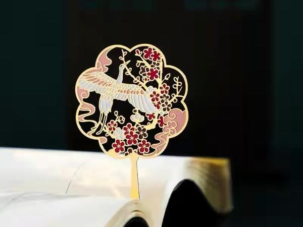中国古风古典扇形金属书签