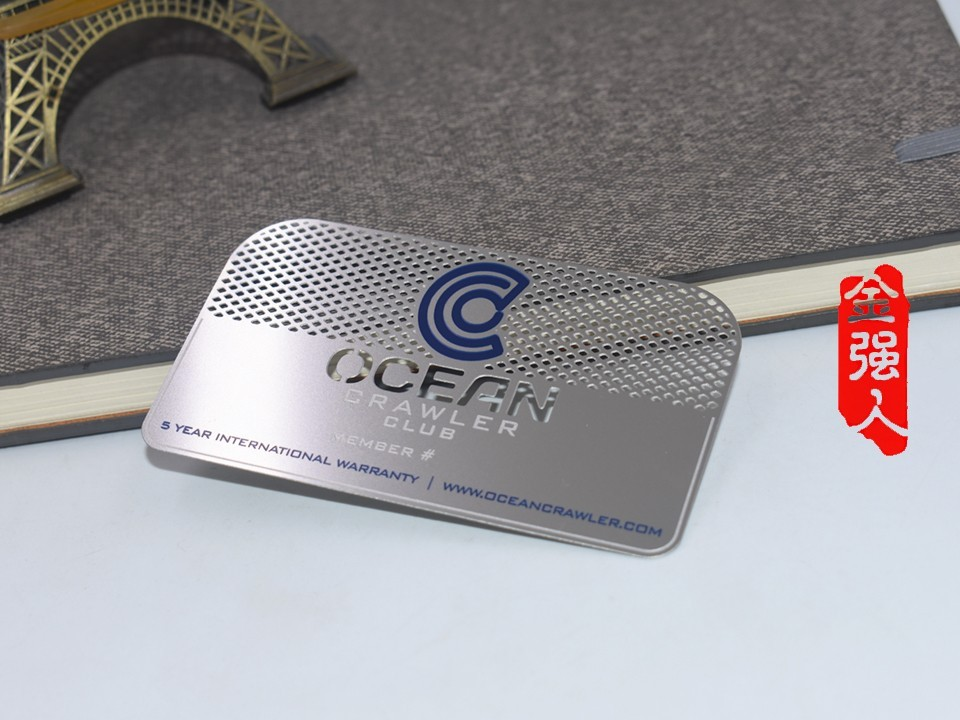 免费设计_定制_OCEAN腐蚀镂空银灰金属名片卡样版