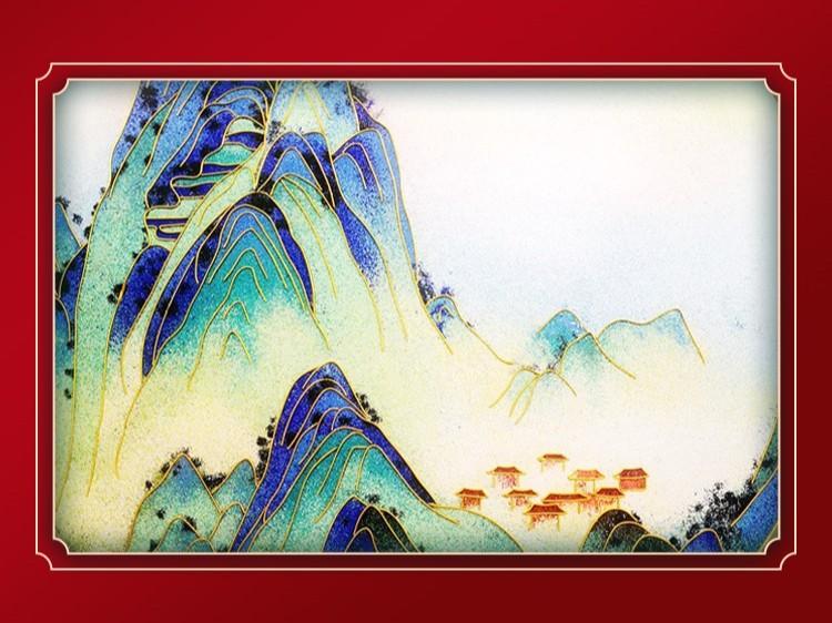 千里江山景泰蓝圆盘
