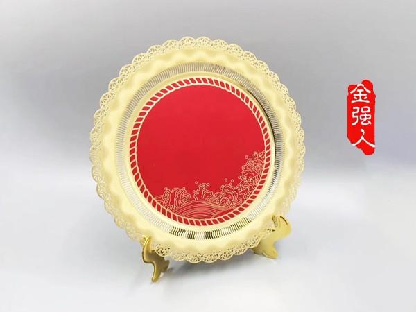 免费设计_定制_腐蚀精细镂空花边纪念金盘样版