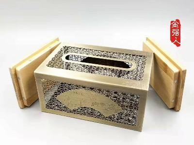 免费设计_定制_扇面古铜镂空镀金银金属纸巾盒样版